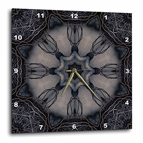 Dark Gothic Ornament 3 Mandala-Wall Clock - Distressed Wall Art