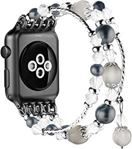 Simpeak Beaded Fashion Band Compatible with Apple Watch 38mm 40mm Series 6 SE 5 4 3 2 1, Handmade Beaded Elastic Women Bracelet Replacement for iWatch 38 40, Fixed Size 5.7-6.9, Black