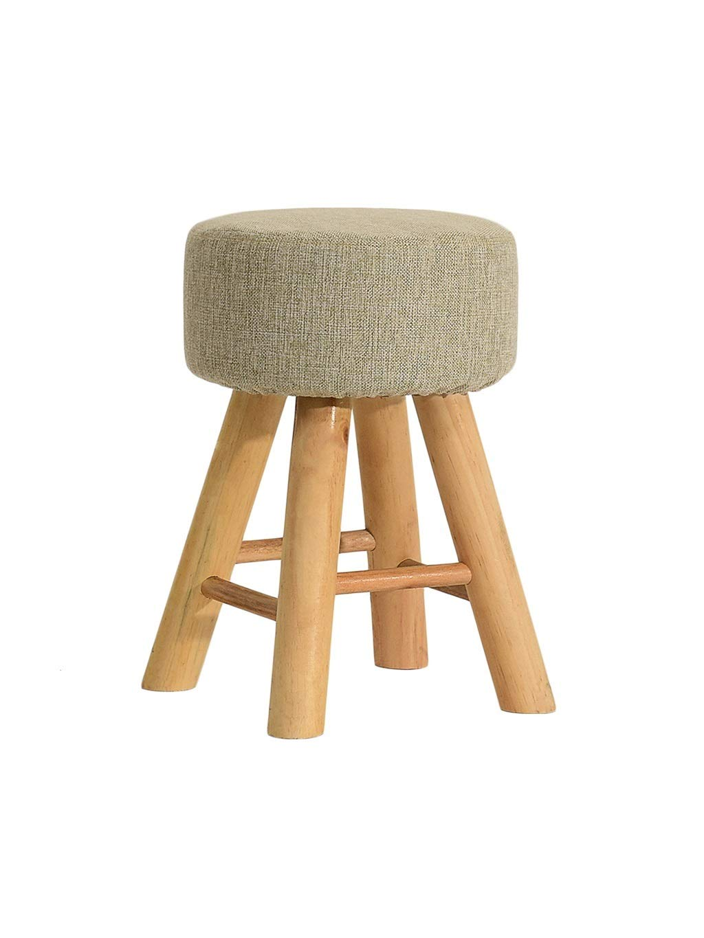 Beige-circle ZH STOOLS Small Stool, Handmade Solid Wood Beech Ergonomics Change shoes Bench Safety Creative Stacked Nordic Portable Seat for Living Room (color   Green-Circle)