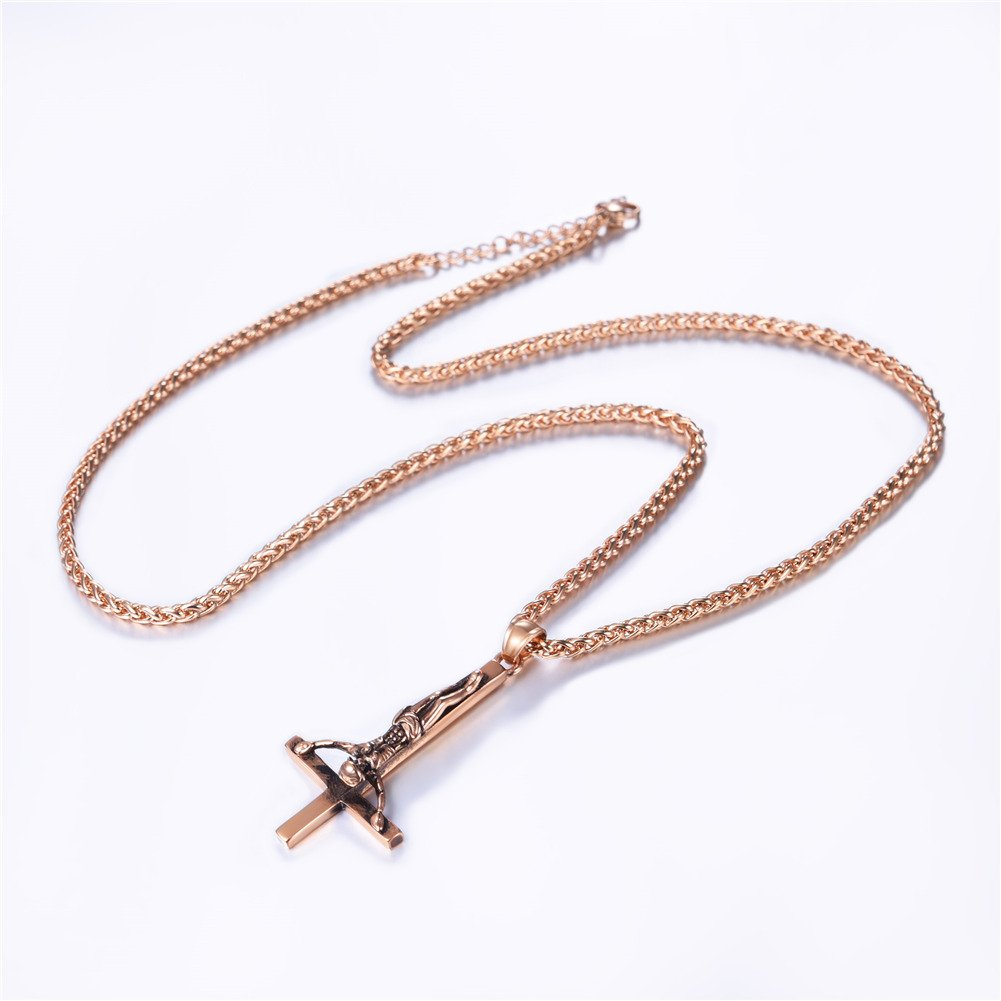 Customizable Peter Cross Necklace Stainless Steel//18K Gold Plated Chain Inverted Cross Pendant U7 St