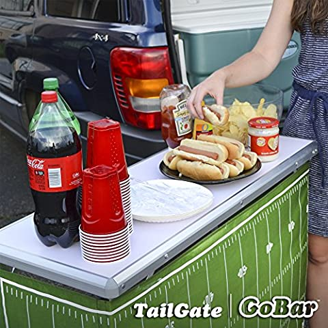 GoPong Portable High Top Party Bar Table with Shelf - (15L x 39W x 36H) - Includes 3 Front Skirts and Carrying Case