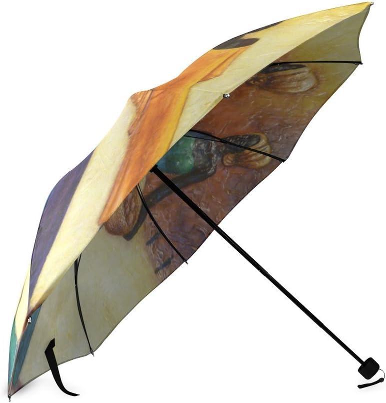 Custom African Women Compact Travel Windproof Rainproof Foldable Umbrella