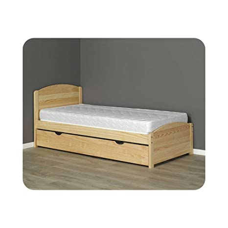 Pack cama nido naturaleza Brut de paleta 90 x 200 cm con 2 colchones