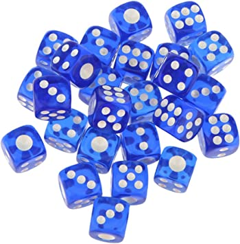 Hellery 25 Piezas Dados de D6 6 Lados Juego de Mesa para Amigos - Azul Transparente: Amazon.es: Juguetes y juegos