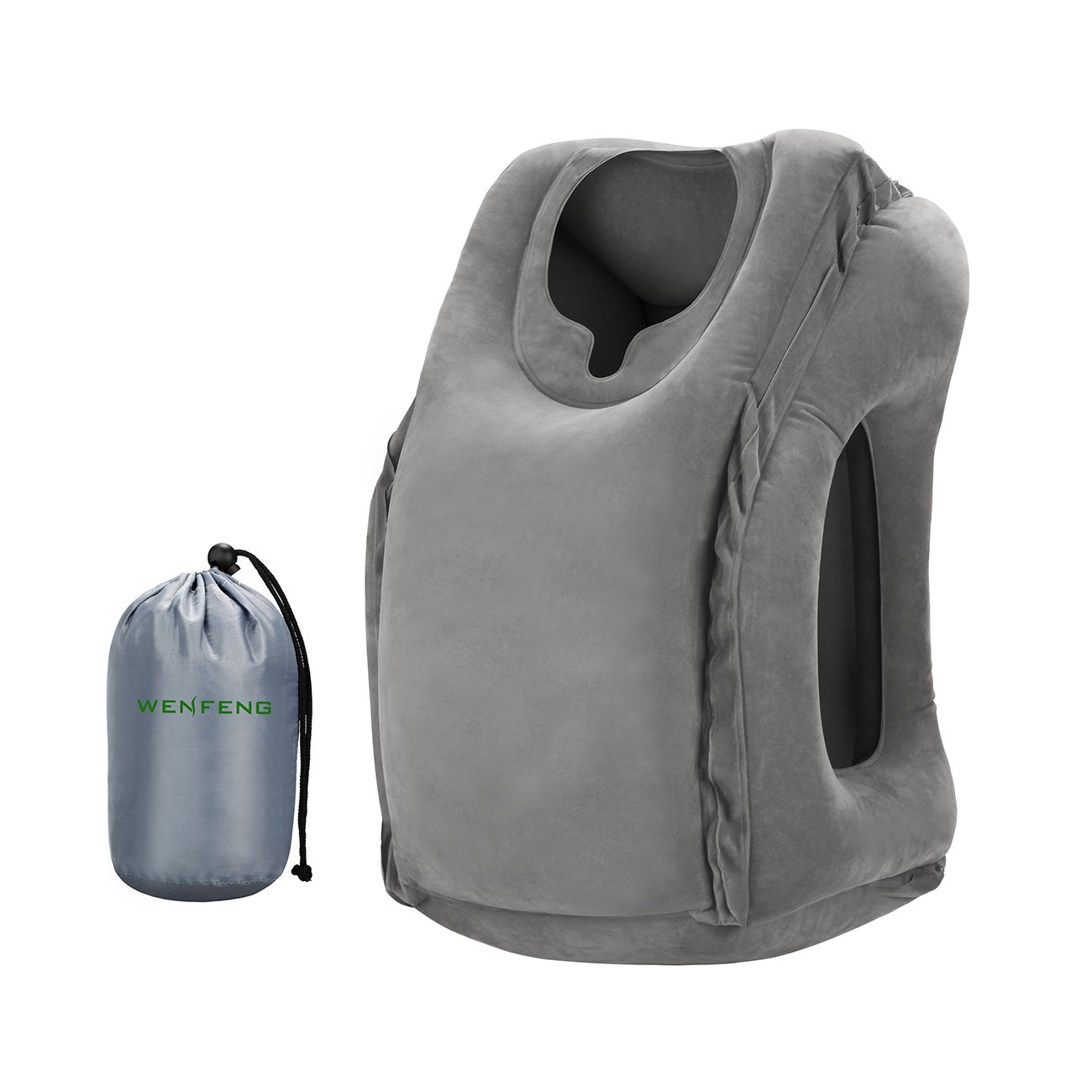Wenfeng Inflatable Travel Pillow, Portable Ergonomic Head Neck Rest Pillow  For Travel, Camping,