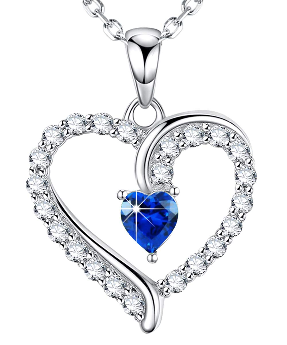 September Birthstone ❤️ You are The Only One ❤️ Love Heart Pendant Necklace for Wife Created Blue Sapphire Fine Jewelry Birthday for Women Her Girlfriend Daughter Sterling Silver