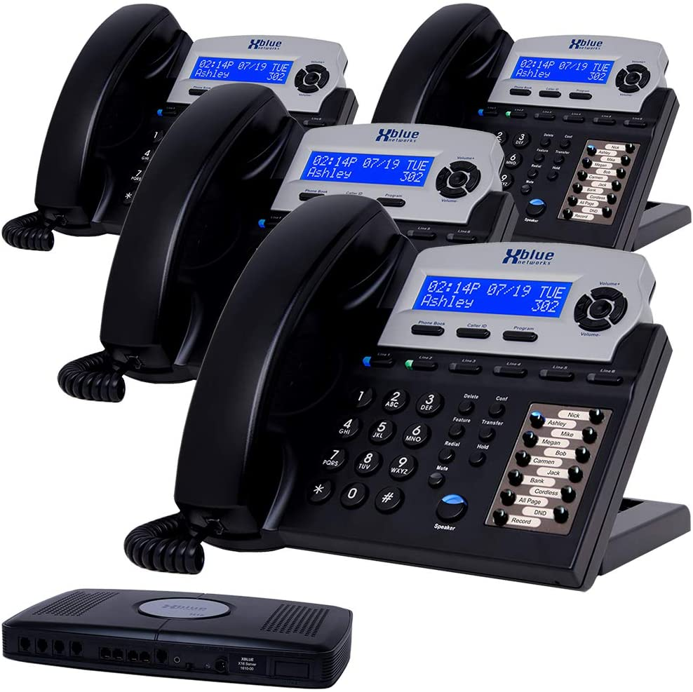 XBLUE X16 Small Business Phone System Bundle with (4) Phones - (6) Outside Line & (16) Phone Capacity - Includes Auto Attendant, Voicemail, Caller ID, Paging & Intercom