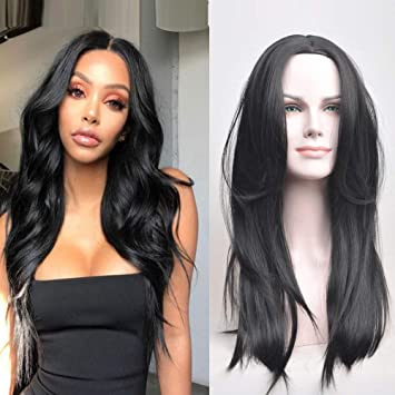 Amazon.com   RUISENNA Synthetic Long Straight Hair Wigs Black Color Full Wig  for Women Middle Part 100% Heat Resistant Fiber Wigs for Black Women    Beauty c845e82d2b