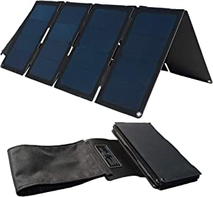 TP-solar 60W Portable Foldable Solar Panel Charger Kit Dual USB 5V + 18V DC Output for Portable Generator Power Station Cell Phone Tablet Laptop 12V RV Boat Car Battery