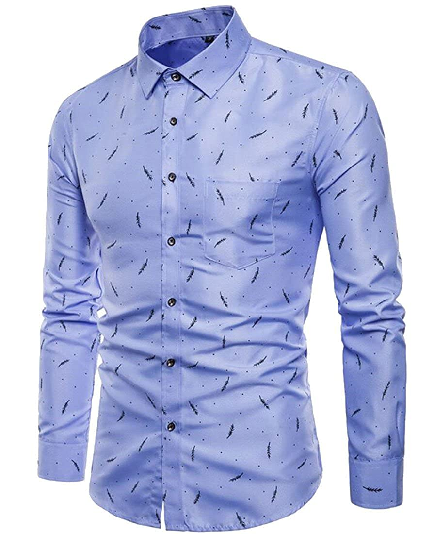 Hurrg Men Button up Basic Business Long Sleeve Print Formal Dress Shirts