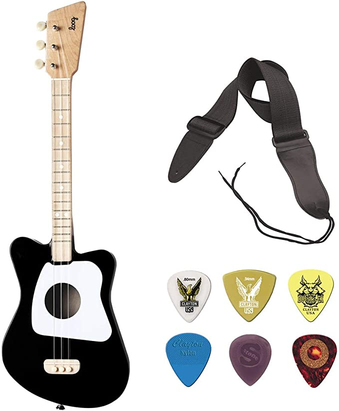 LOOG - Mini guitarra para niños (negro) con GSA10BK correa de guitarra con extremos de cuero (31 a 52