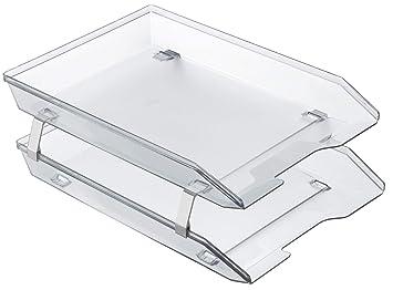 Acrimet Bandeja Portadocumentos 2 Niveles para Cartas Frontal (Color Cristal Transparente)