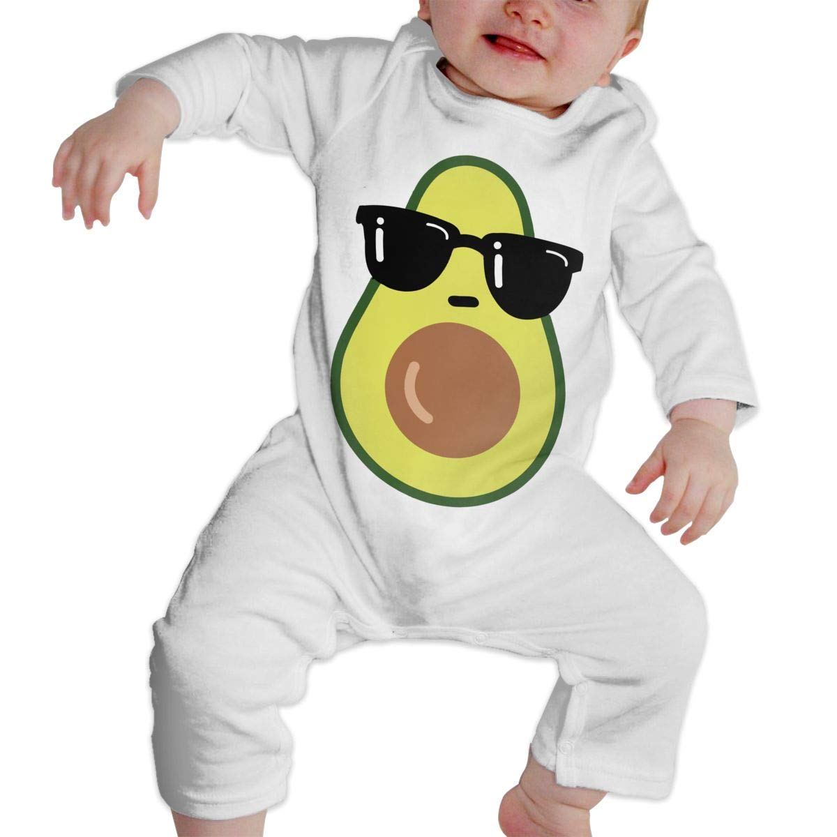UGFGF-S3 Cool Avocado Newborn Baby Long Sleeve Bodysuit Organic Coverall