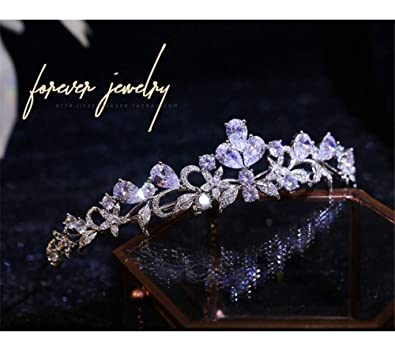 2cabf39ccfc0 auvwxyz Tiaras Princesa De Lujo Circón Corona Novia Accesorios Dama De Honor  Corona De Cumpleaños Accesorios para El Cabello Joyería De La Boda   Amazon.es  ...