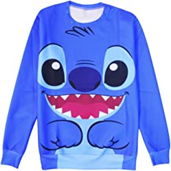 ZURIC Woman Cartoon Stitch Print Sweatshirt Hoodie Casual Clothing Sweater