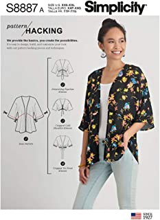 product image for Simplicity US8887A Sewing Pattern S8887 Misses' Design Hacking Kimono, Various, White