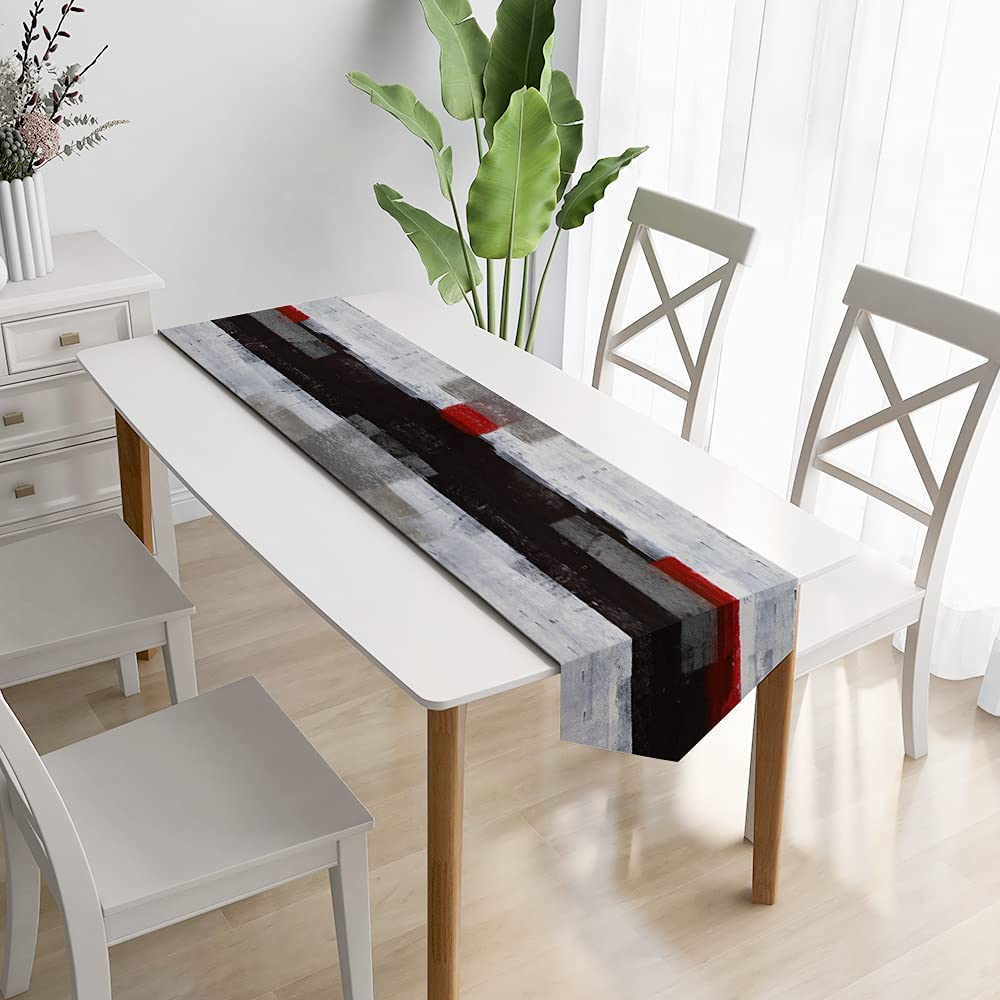 GALMAXS7 Modern Art Table Runner Farmhouse Style Burlap Table Runner Black and Red Abstract Art Painting Linen Table Runners for Farmhouse Kitchen, Dinner Holiday Parties Wedding Decor 13 X 70 Inch