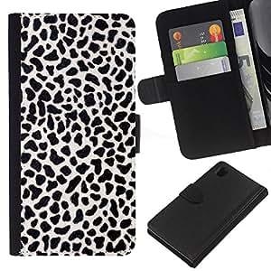 KLONGSHOP // Tirón de la caja Cartera de cuero con ranuras para tarjetas - Textura de impresión Negro - Sony Xperia Z1 L39 //