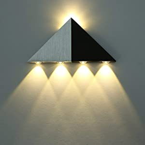 Lightess Up Down Wall Sconce Lights 5W Led Wall Lamp Modern Decorative Triangle Shape for Bathroom Home Theater, Warm White