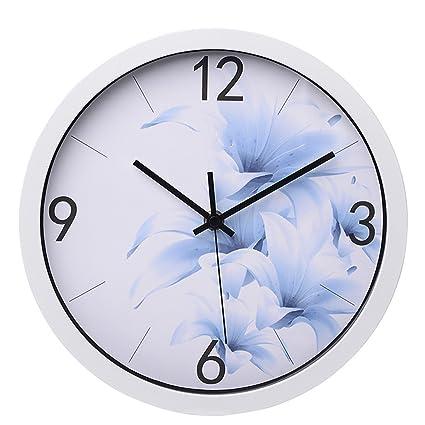 ZloveM Reloj de Pared Grande Silencioso Reloj Decoración para Hogar Cocina Salon Oficina Comedor Habitación Ronda