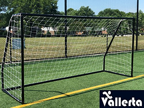 Vallerta Premier 12 X 6 Ft. AYSO Youth Regulation Size Soccer Goal w/Weatherproof 4mm Internet. 50MM Diameter Black Powder Coated/Corrosion Resistant Body. 12×6 Foot Practice Help(1Net) ONE YEAR WARRANTY! – DiZiSports Store
