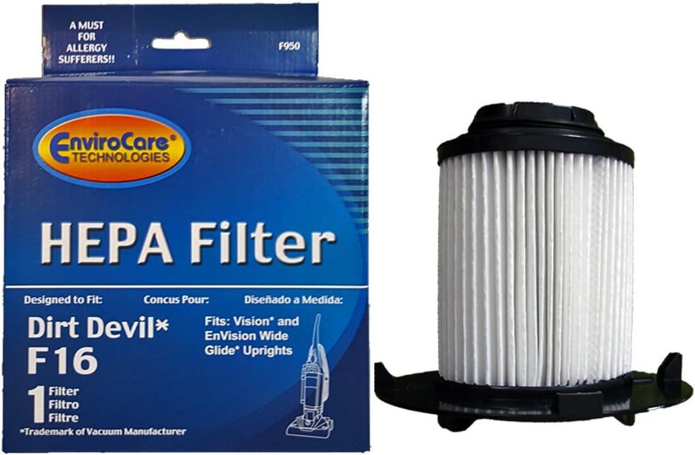 EnviroCare Dirt Devil F16 HEPA Vacuum Filter for Royal Dirt Devil, Vision, Envision Wide Glide Upright Vacuum Cleaners (1 Filter)