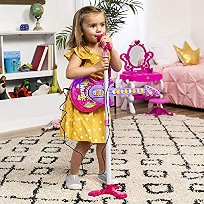 Best Choice Products 19in Kids Toddlers Flash Guitar Pretend Musical Instrument Toy w/ Mic, MP3 Compatible - Pink: Toys & Games