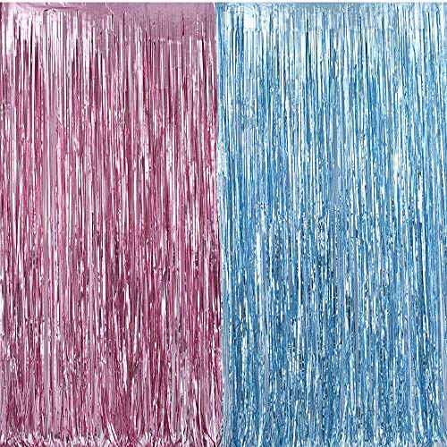 Metallic Tinsel Foil Fringe Curtains 3.2 ft x 6.6 ft Baby Shower Gender Reveals Party Decoration Party Photo Backdrop (Pink/Blue)]()