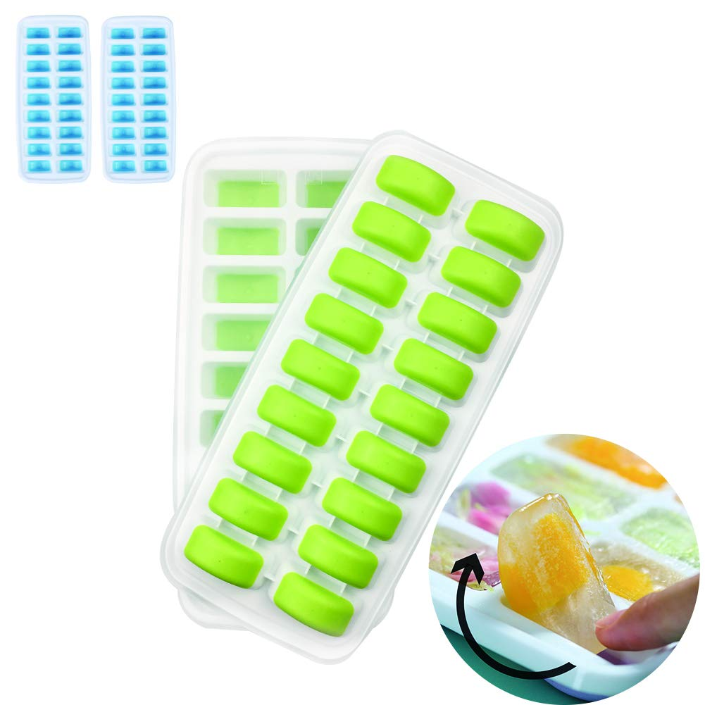 Homeditor Ice Cube Trays 4 Pack Stackable Ice Trays With Removable Lids for Freezer Easy-Release Plastic And Silicone 72 Ice Cubes, Special Half Moon Bottom Design