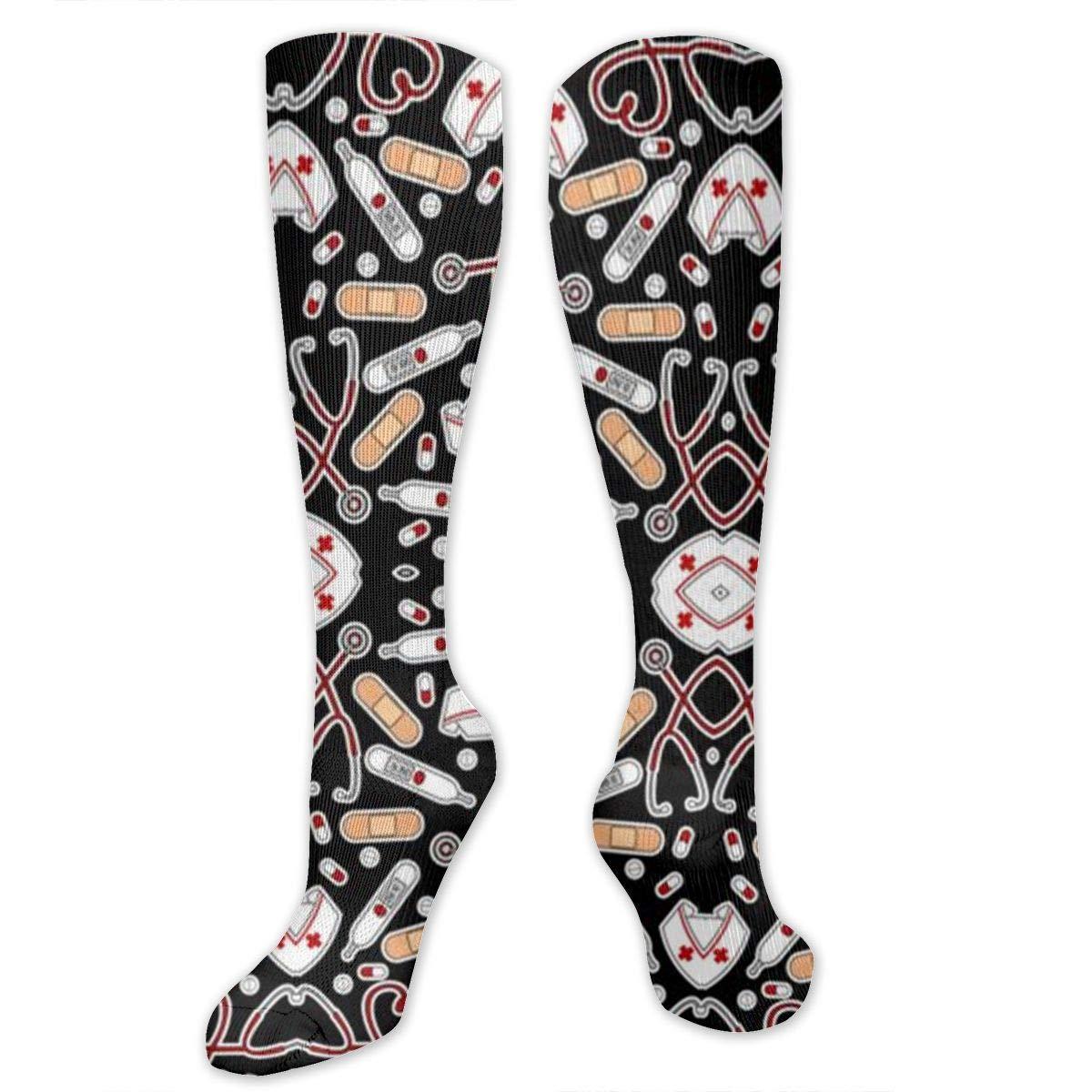 Men Multicolored Pattern Fashionable Fun Crew Cotton Socks Chanwazibibiliu Cute Nurse Love Black Mens Colorful Dress Socks Funky