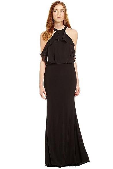 ruffle shoulder evening dress