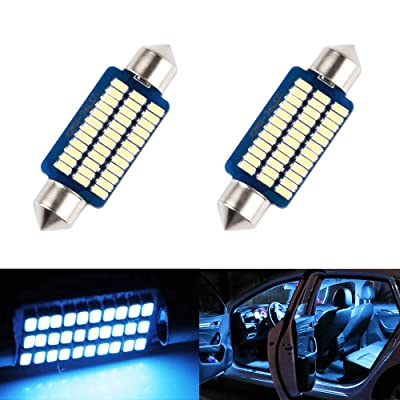 LED Dome Light 41mm 42mm 211-2 569 578 Bulb Ice Blue 8000K 3014 SMD for Cars Map License Plate Trunk Interior Lights Lamp Replacement Festoon super Bright 12V 3W 1 Year Warranty 1.65in 2 Pack【1797】: Automotive