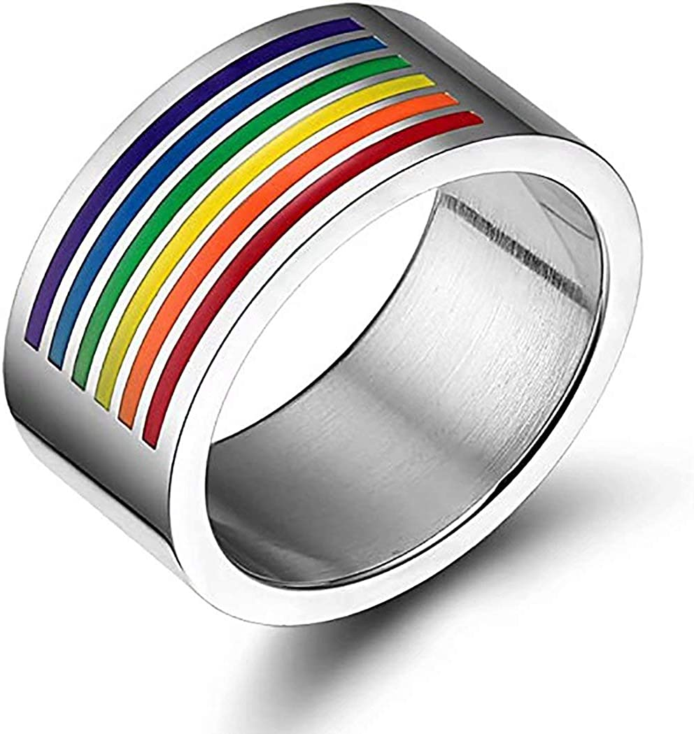 Qunny 10mm Rainbow Pattern Enamel Ring Wedding,Promise /& Anniversary Gift