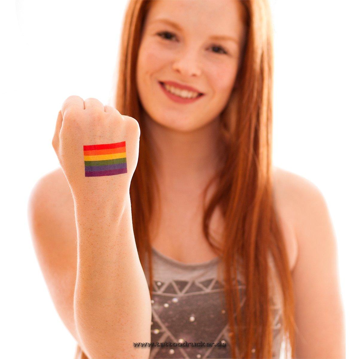 10 x Gay Pride Tattoo Rainbow Tattoo Flag CSD Tattoo