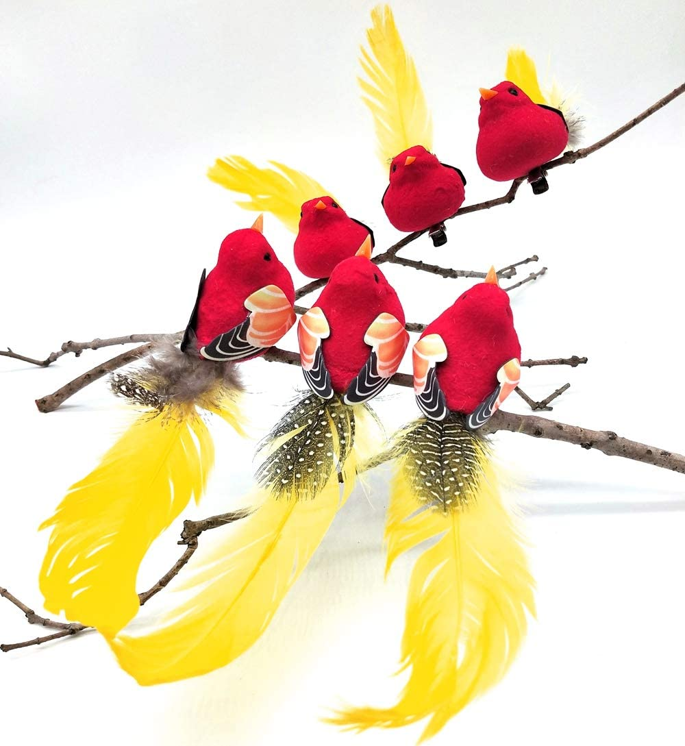 Artificial Simulated Foam Birds Feather Mini Love Birds for Craft Home Ornaments Garden Wedding Decoration Embellishing 18cm/7.08inch Metal Clip (Red, 6)