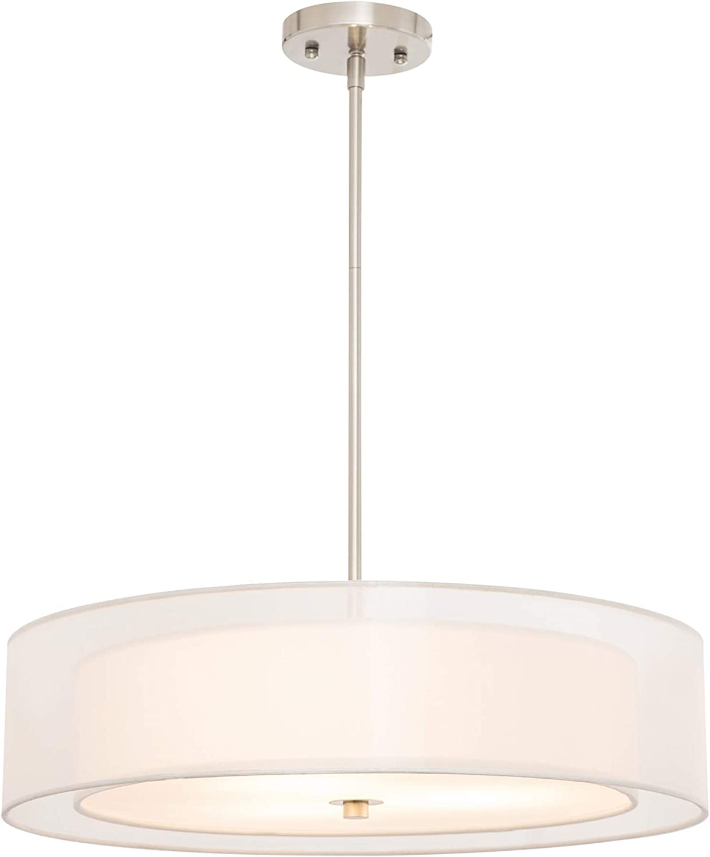 Co Z 3 Light Double Drum Pendant Light 20 Brushed Nickel Convertible Semi Flush Mount Drum Ceiling Light Fixture For Kitchen Island Dining Table Bedroom Entry Bar Modern Hanging Lights Chandelier