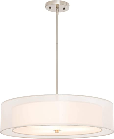 Amazon Com Co Z 3 Light Double Drum Pendant Light 20 Brushed Nickel Convertible Semi Flush Mount Drum Ceiling Light Fixture For Kitchen Island Dining Table Bedroom Entry Bar Modern Hanging Lights Chandelier Home Improvement