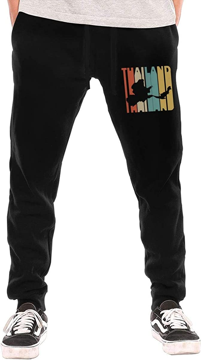 Casual Fleece Sweatpants with Drawstring and Pockets Liang Mens Retro Style Thailand Silhouette Athletic Sweatpants S-3XL