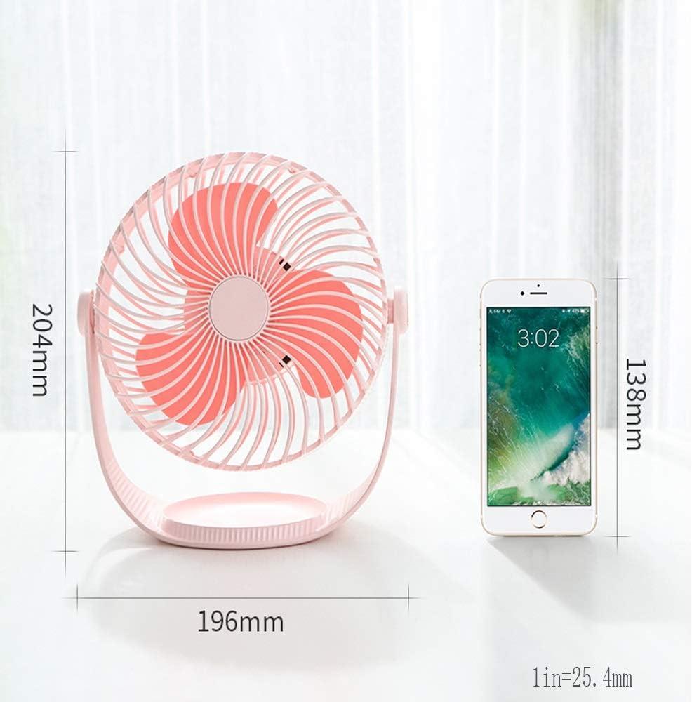 BNSDMM Small Fan Portable USB Primary School Dormitory Mini Rechargeable Handheld Bed Bedroom Ultra-Quiet Desk Desktop Cooling Home Windy Battery Fan Desktop Desktop Fan Color : A
