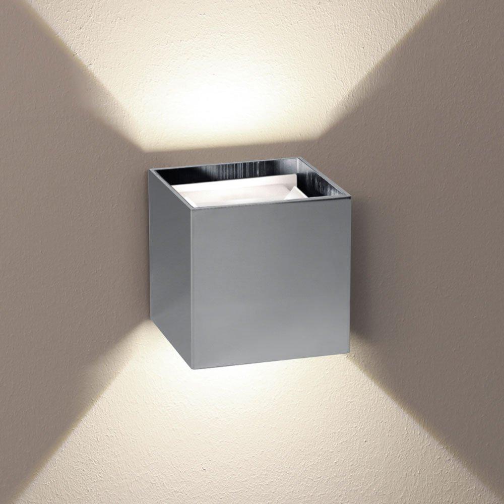 S.LUCE Ixa LED Wandleuchte mit zwei verstellbaren Winkel Aussen-Wandlampe Chrom, Fassadenleuchte Up&Down Lichteffekte, Flurlampe Treppenhausleuchte Wohnzimmerlampe