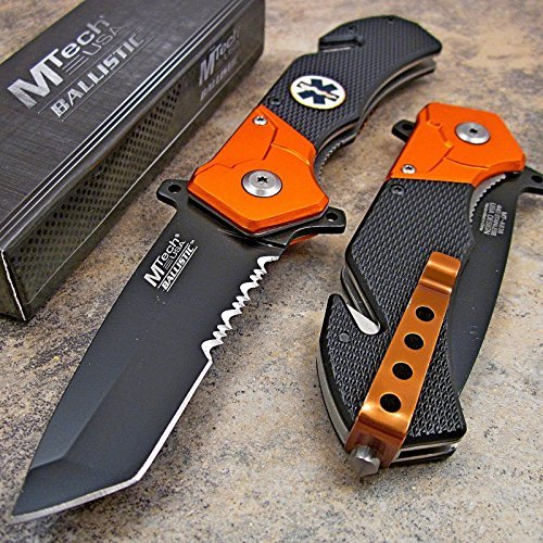 Tanto Rescue Knife - Mtech Orange Black EMT EMS Tanto Rescue Pocket Knife NEW