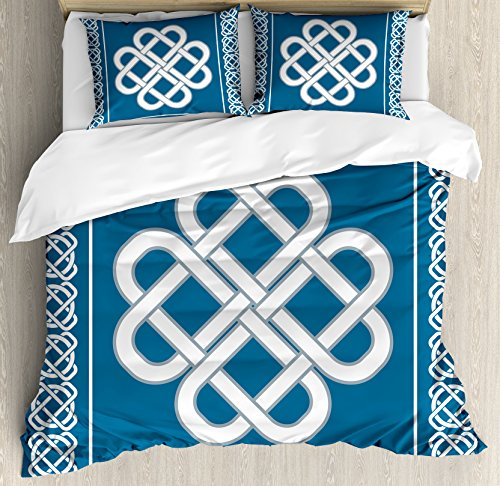 Set Celtic Love Knot (Irish Duvet Cover Set Twin Size by Ambesonne, Celtic Love Knot Good Fortune Symbol Framework Border Historical Amulet Design, Decorative 2 Piece Bedding Set with 1 Pillow Sham, Dark Aqua White)