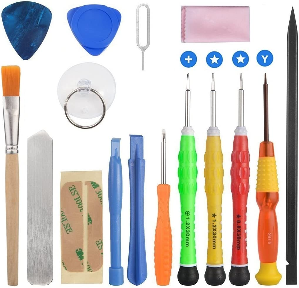 ELINKA 16 Pieces Cell Phone Repair Tool Kits Screwdriver Opening Pry Tools for iPhone 7/7 Plus/6Plus/6S/6/5S/5/5C/4S/4/SE, iPad Air/Air2/mini, iPod