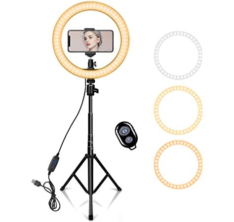 XINHUANG Video Light Dimmable LED Selfie Ring Light USB Ring lamp Photography Light with Phone Holder 2M Tripod Stand for Makeup YouTube Size : B