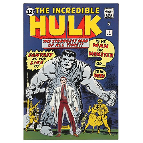 Open Road Brands Vintage Retro Metal Tin Signs - The Incredible Hulk #1 Comic Sign - Great for Man Caves, Garage Art, and Home -