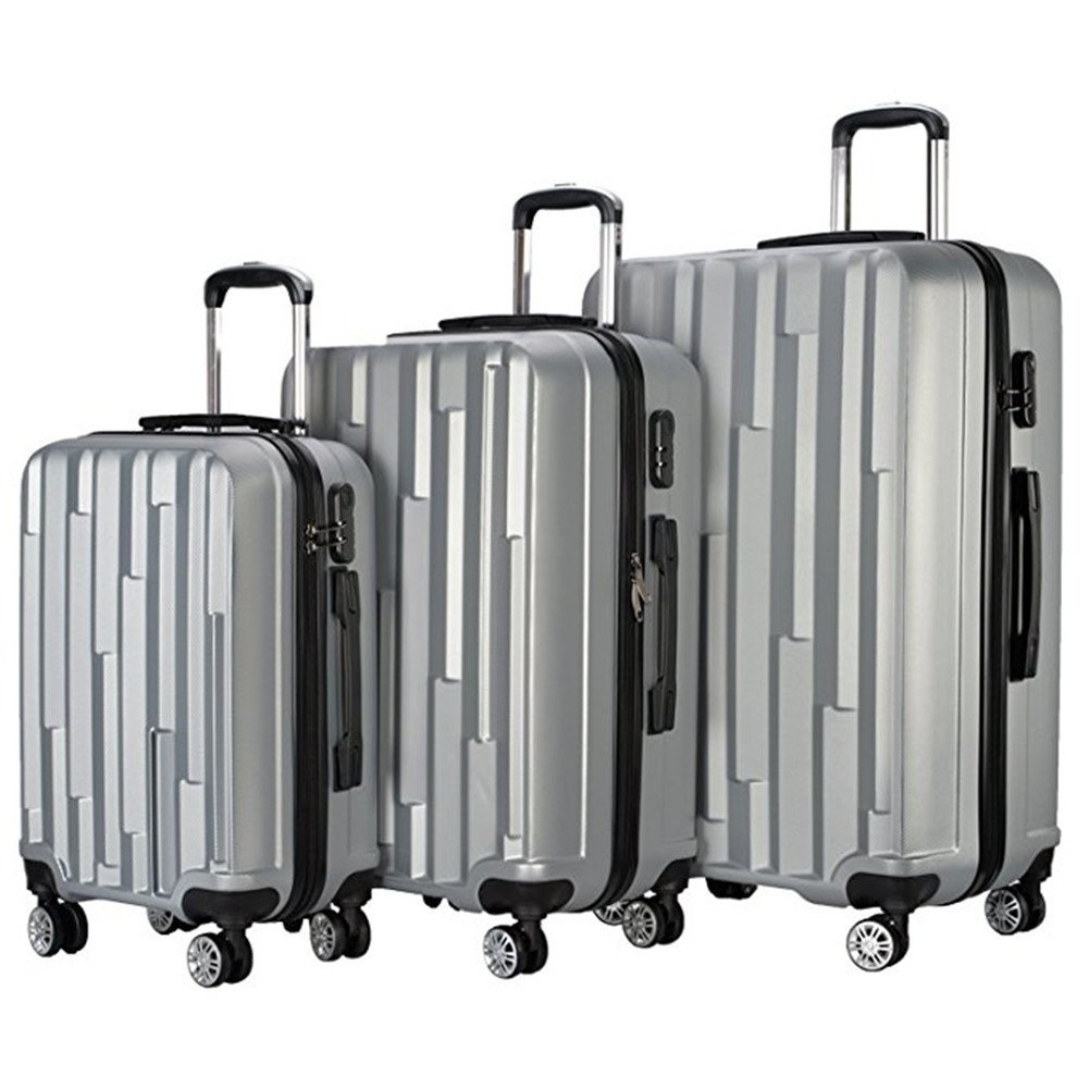 3 Piece Carry On Spinner Wheels Luggage Sets Travel Suitcases (Gray)