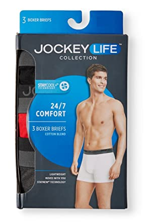 6d86bcdd4603 Jockey Life 3-Pack Men's 24/7 Comfort Cotton Blend Boxer Briefs - Black