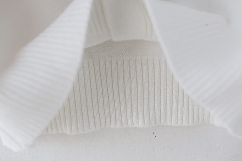 ZHUANNIAN Girls School Cardigan Long Sleeve Pearl Button Down Uniform Schoolwear Cardigans 4-5Years White