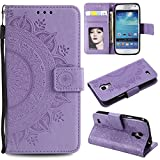 Galaxy S4 Mini Floral Wallet Case,Galaxy S4 Mini Strap Flip Case,Leecase Embossed Totem Flower Design Pu Leather Bookstyle Stand Flip Case for Samsung Galaxy S4 Mini-Purple