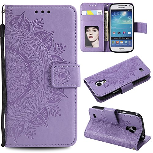 Galaxy S4 Mini Floral Wallet Case,Galaxy S4 Mini Strap Flip Case,Leecase Embossed Totem Flower Design Pu Leather Bookstyle Stand Flip Case for Samsung Galaxy S4 Mini-Purple by Leecase